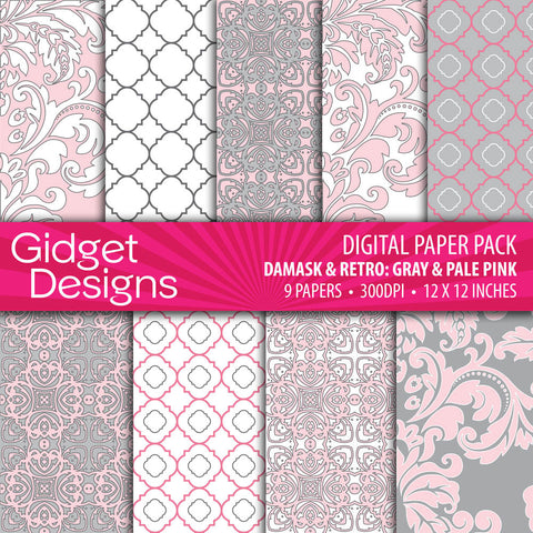 Digital Paper Pack Damask & Retro Gray & Pink  - 1