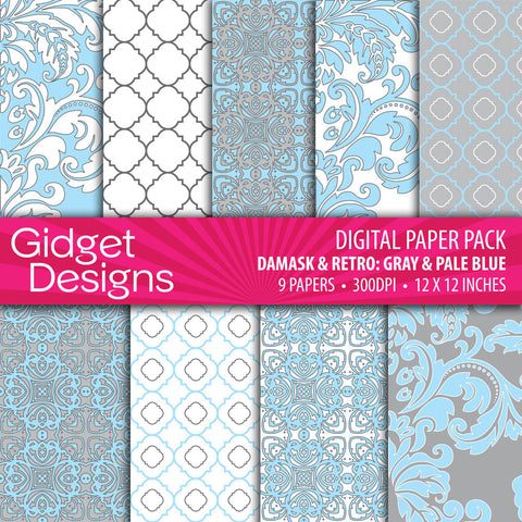 Digital Paper Pack Damask & Retro Gray and Blue