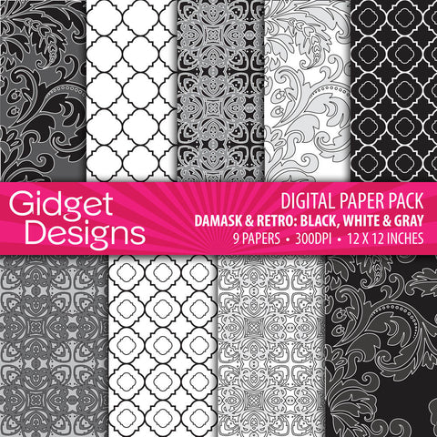 Digital Paper Pack Damask & Retro Black, White and Grey  - 1