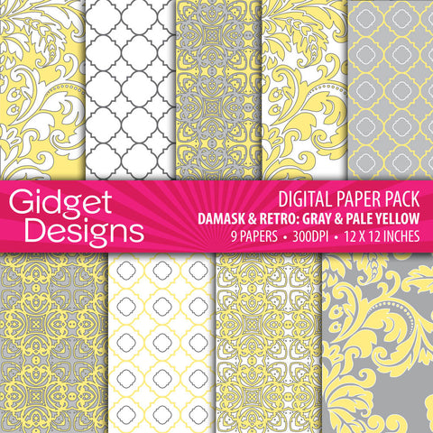 Digital Paper Pack Damask & Retro Gray and Yellow