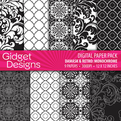 Digital Paper Pack Damask & Retro Monochrome Black and White