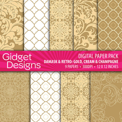 Digital Paper Pack Damask & Retro Gold, Champagne and Cream
