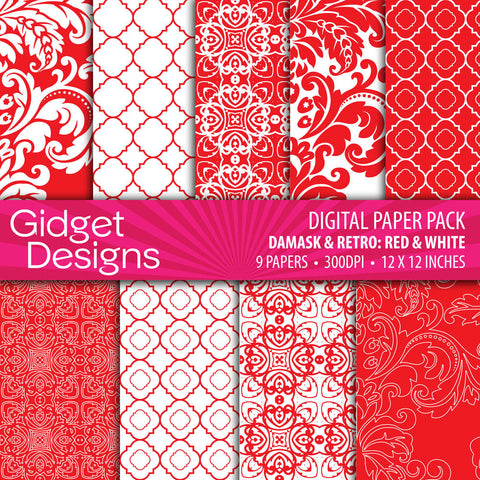 Digital Paper Pack Damask & Retro Red and White