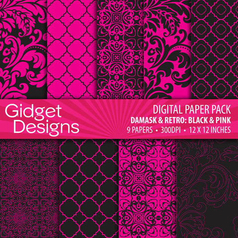 Digital Paper Pack Damask & Retro Black and Pink