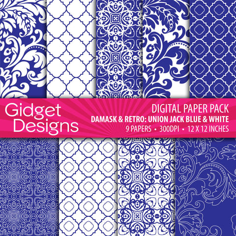 Digital Paper Pack Damask & Retro Union Jack Blue & White