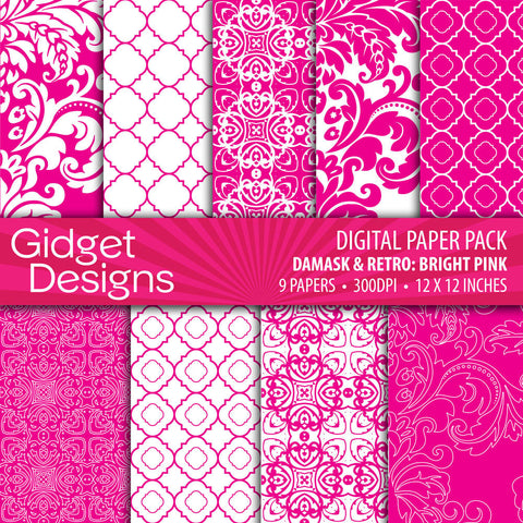 Digital Paper Pack Damask & Retro Magenta