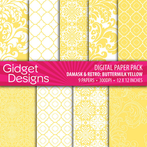 Digital Paper Pack Damask & Retro Buttermilk Yellow