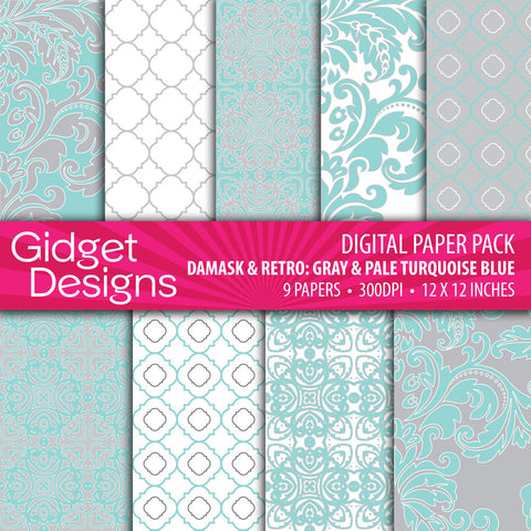 Digital Paper Pack Damask & Retro Gray & Pale Turquoise Blue
