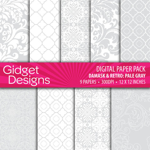 Digital Paper Pack Damask & Retro Pale Gray