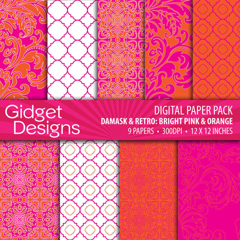 Digital Paper Pack Damask & Retro Pink & Orange