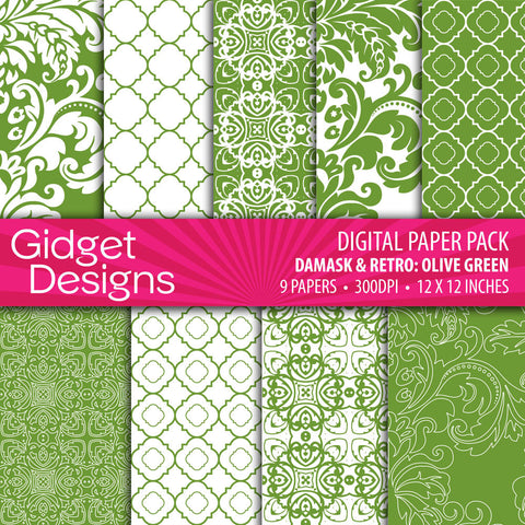 Digital Paper Pack Damask & Retro Olive Green