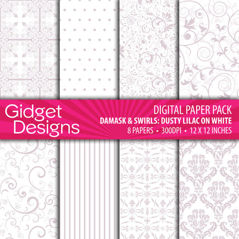 Digital Paper Pack Damask & Swirls Dusty Lilac on White  - 1