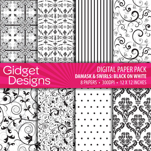 Digital Paper Pack Damask & Swirls Black on White  - 1