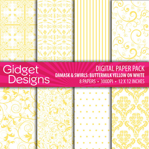 Digital Paper Pack Damask & Swirls Buttermilk on White  - 1