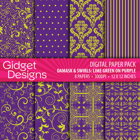 Digital Paper Pack Damask & Swirls Lime Green on Purple  - 1