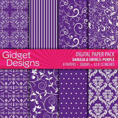 Digital Paper Pack Damask & Swirls Dark Purple  - 1