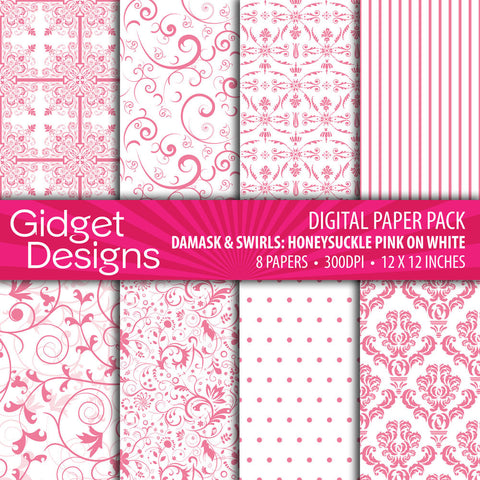 Digital Paper Pack Damask & Swirls Honeysuckle Pink on White  - 1