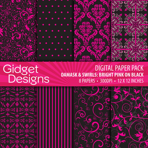 Digital Paper Pack Damask & Swirls Bright Pink on Black  - 1