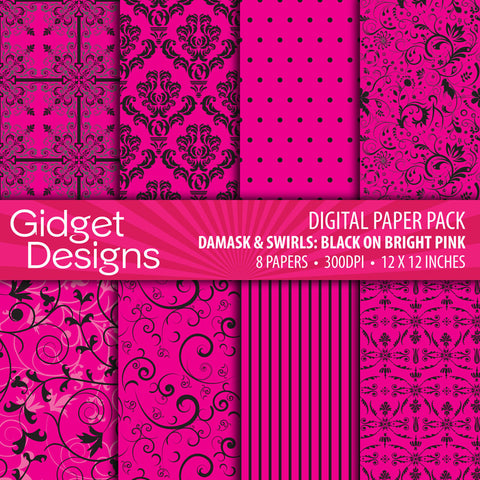 Digital Paper Pack Damask & Swirls Black on Bright Pink