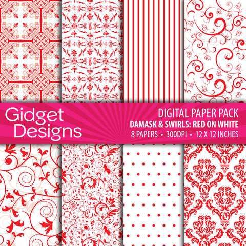 Digital Paper Pack Damask & Swirls Red on White  - 1
