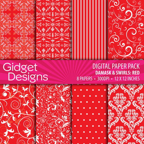 Digital Paper Pack Damask & Swirls Red  - 1