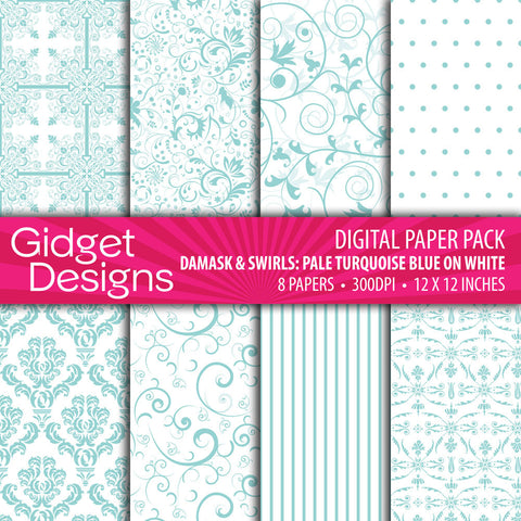 Digital Paper Pack Damask & Swirls Pale Turquoise Blue on White  - 1