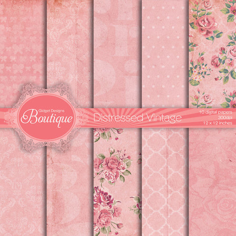 Digital Paper Pack Vintage Distressed Dusty Pink  - 1