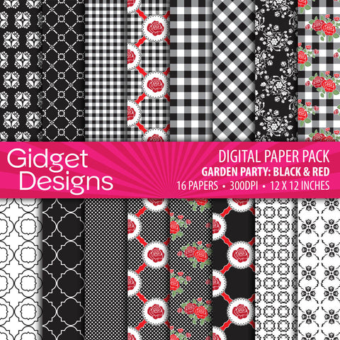 Digital Paper Pack Garden Party Black and Red  - 1