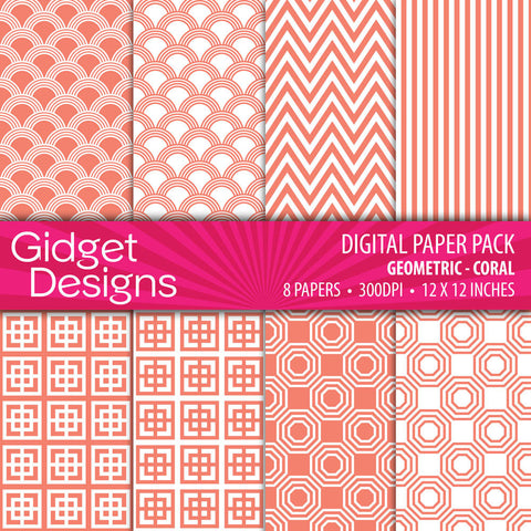 Digital Paper Pack Geometric Coral  - 1