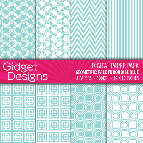 Digital Paper Pack Geometric Pale Turquoise Blue  - 1