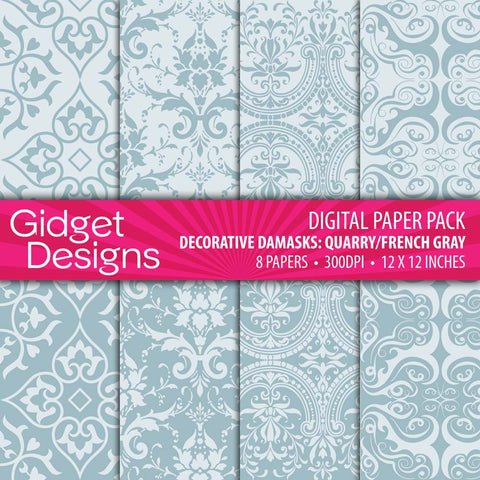 Digital Paper Pack Decorative Damask Quarry/French Gray  - 1