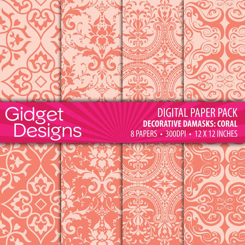 Digital Paper Pack Decorative Damask Coral  - 1