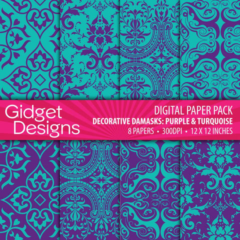 Digital Paper Pack Decorative Damask Purple & Turquoise  - 1