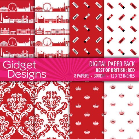 Digital Paper Pack Best of British Red  - 1