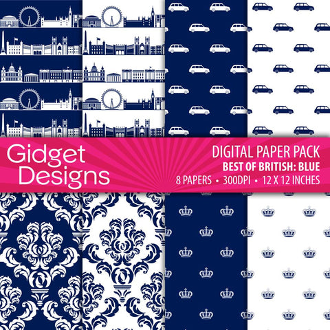Digital Paper Pack - Blue London - Scrapbook Paper  - 1