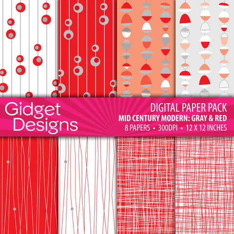 Red Mid Century Modern Digital Scrapbooking Paper Pack