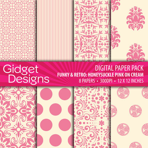 Digital Paper Pack Funky & Retro Honeysuckle Pink on Cream  - 1