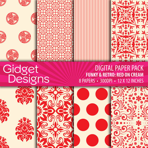 Digital Paper Pack Funky & Retro Red on Cream