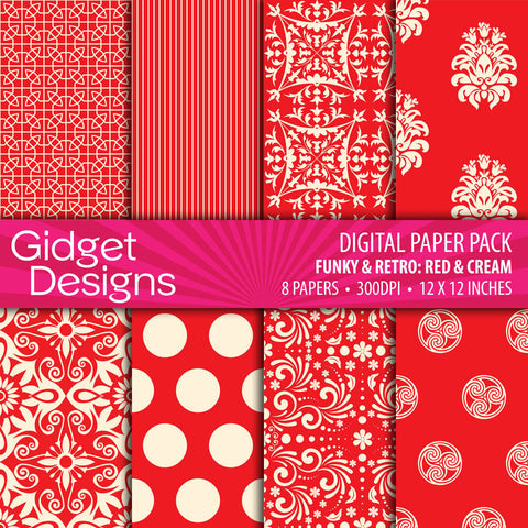 Digital Paper Pack Funky & Retro Red & Cream  - 1
