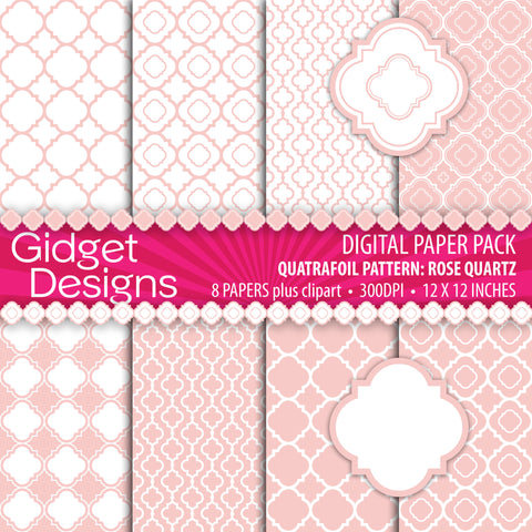 Digital Paper Pack Mod Trellis Quatrefoil Rose Quartz & Clipart  - 1