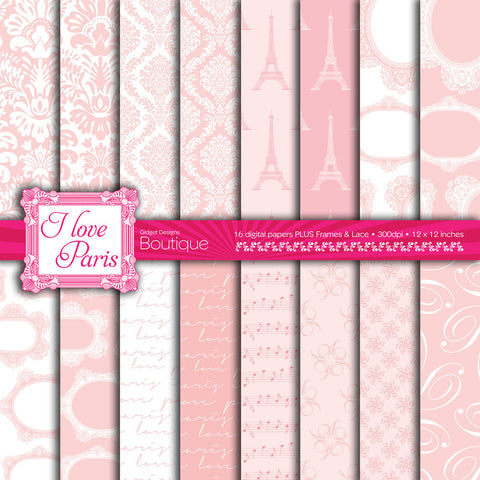 Digital Paper Pack I Love Paris Pink  - 1