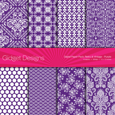 Digital Paper Pack Retro & Vintage Purple  - 1