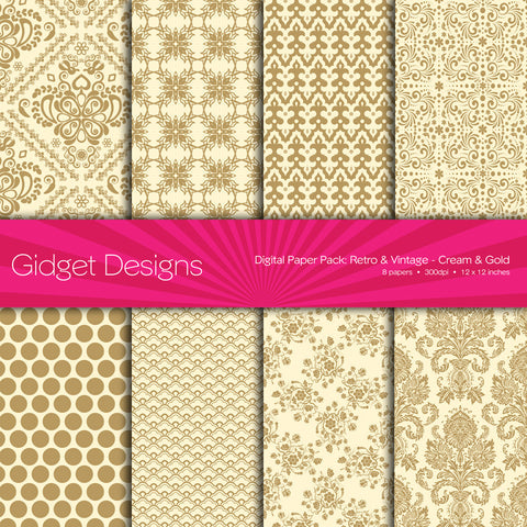 Digital Paper Pack Retro & Vintage Gold on Cream  - 1