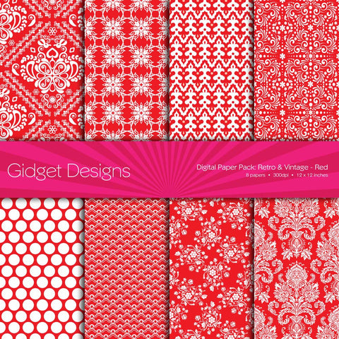 Digital Paper Pack Retro & Vintage Red  - 1