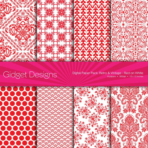 Digital Paper Pack Retro & Vintage Red on White  - 1