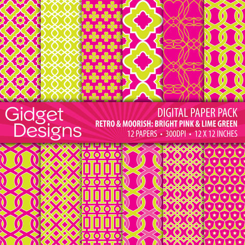 Digital Paper Pack Retro & Moorish Bright Pink & Lime Green  - 1