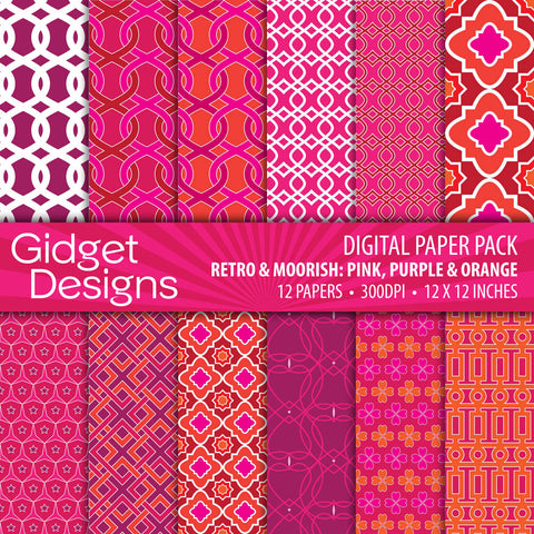 Digital Paper Pack Retro & Moorish Pink, Purple & Orange  - 1