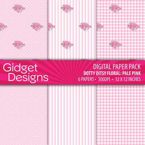 Digital Paper Pack Dotty Ditsy Floral Pale Pink  - 1