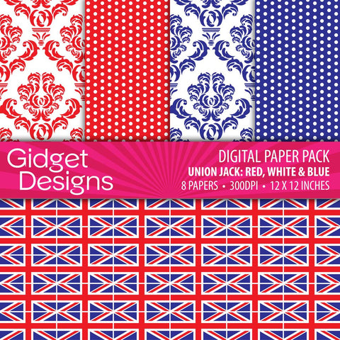 Digital Paper Pack Union Jack Red, White & Blue  - 1