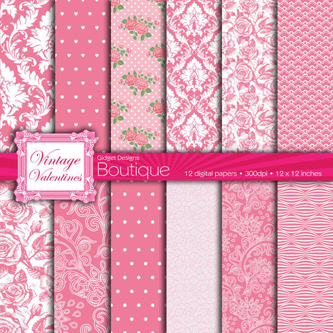 Digital Paper Pack Vintage Valentines Honeysuckle Pink  - 1